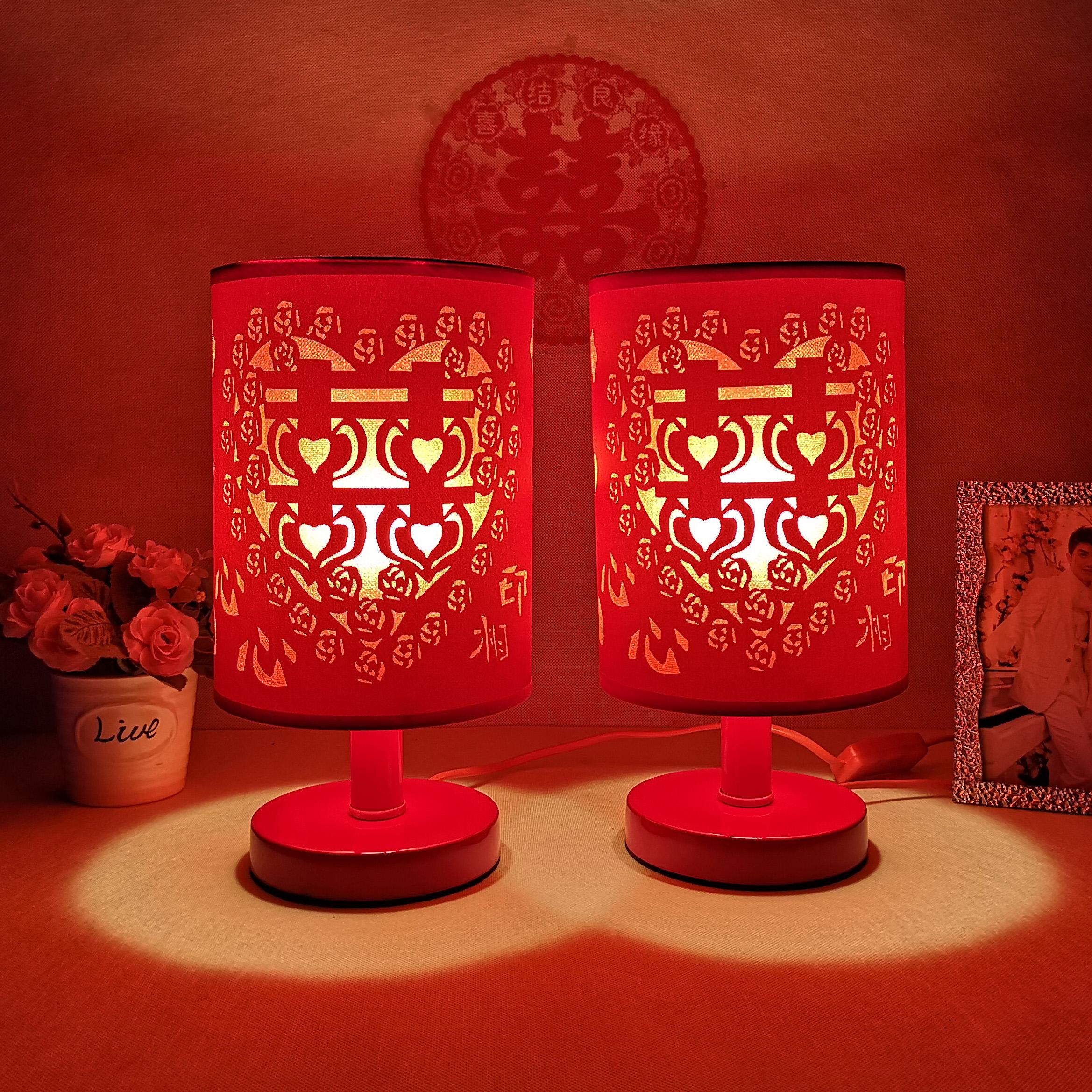 简约双喜结婚台灯卧室床头灯浪漫婚房装饰灯红色一对庆婚灯长明灯券后29.00元