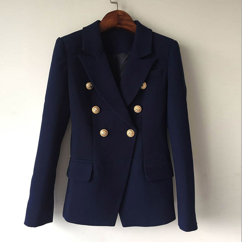 Spot European and American 2021 spring and autumn new fashion metal button double breasted slim suit commuter temperament versatile coat