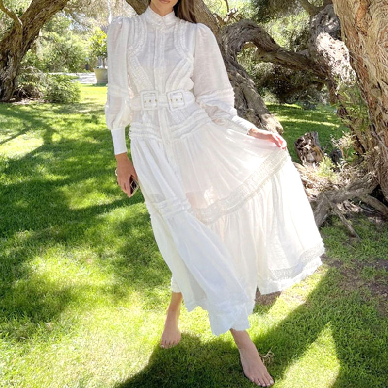 French fairy long skirt 2021 spring and summer solid color fungus lantern bubble sleeve belt single breasted shirt skirt dress