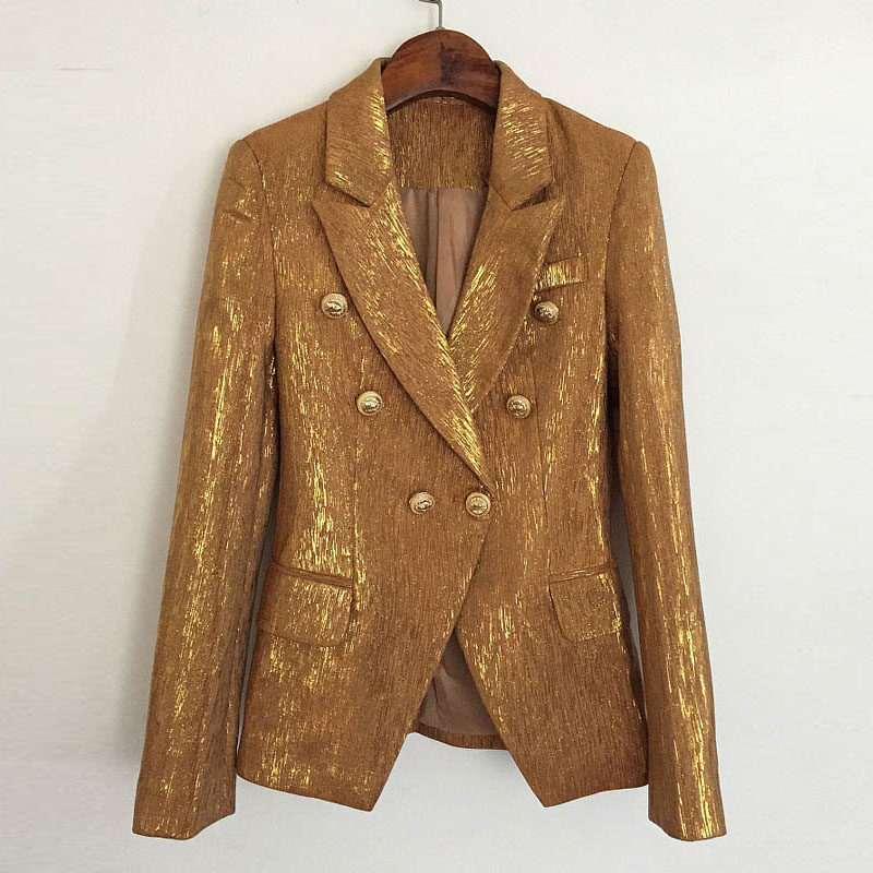 Bling shiny gold Blazer for women 2020 new light luxury celebrity metal button double breasted Blazer