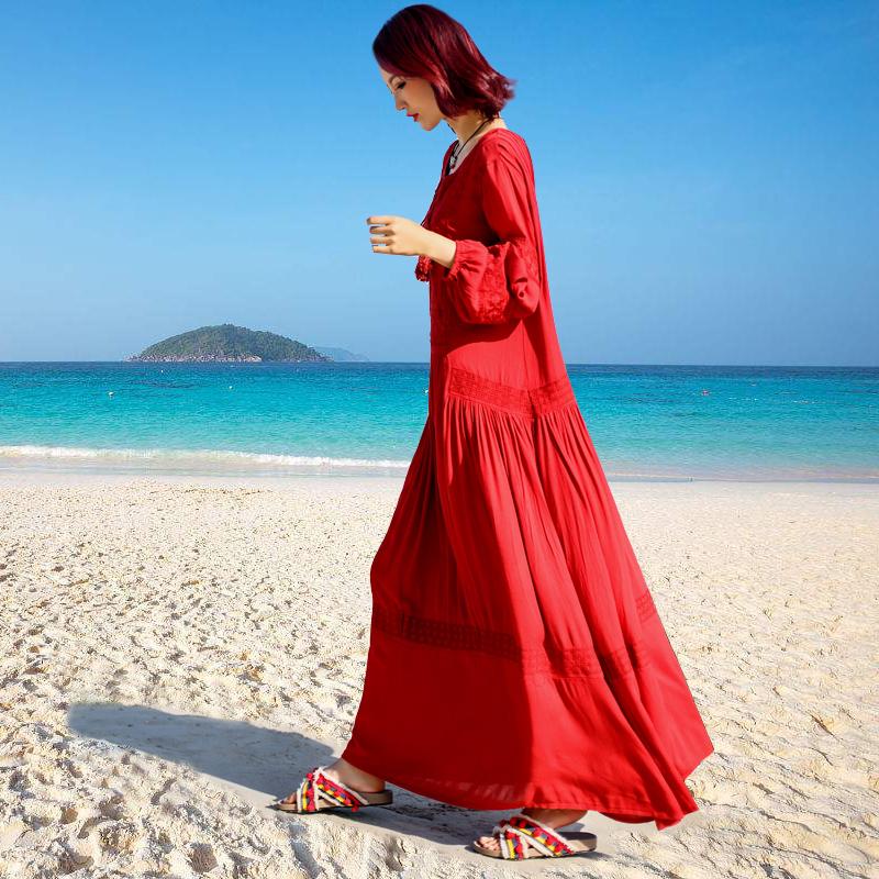 沙滩裙大码迪拜长裙青海湖旅游沙漠红裙子女海边度假民族风连衣裙10月09日最新优惠