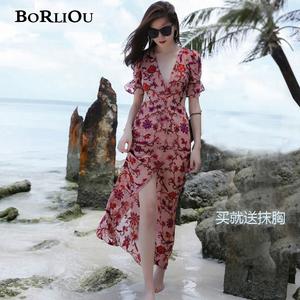 波西米亚长裙海边度假三亚巴厘岛沙滩裙性感超仙泰国连衣裙女夏季图片