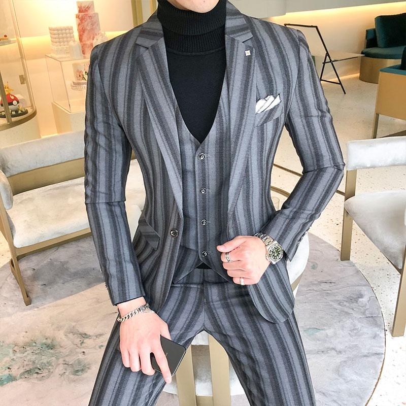 西服套装男士修身三件套冬结婚礼服(非品牌)