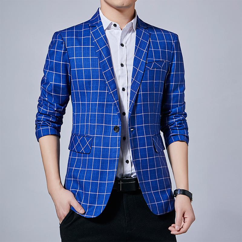 2020年新款春装男士商务休闲修身西服韩版格子小西装外套单西