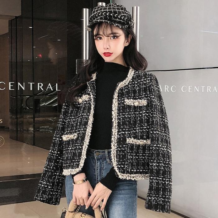 2020春秋新款韩版时尚洋气今年流行轻熟风粗花呢短外套女装潮上衣