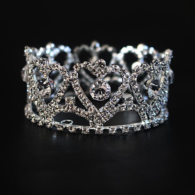 Childrens crown hair accessories Diamond peach heart round crown birthday gift headdress stage show headdress
