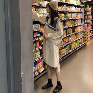 领0元券购买2019春秋网红减龄学院风毛衣衬衫裙两件套矮个子小清新连衣裙套装
