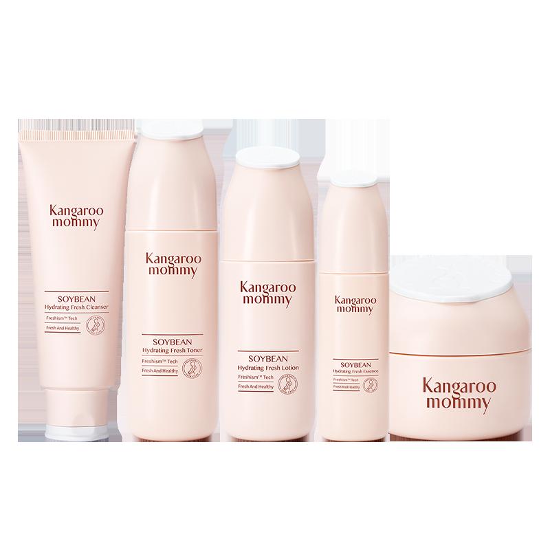 袋鼠妈妈 孕妇护肤品补水哺乳期可用化妆品孕妇水乳套装官网正品