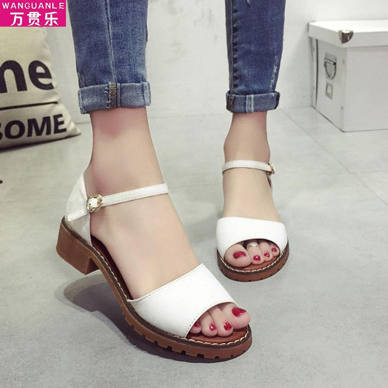 凉鞋女学生韩版2020夏季新款粗跟ins潮罗马鞋百搭鱼嘴仙女风女鞋