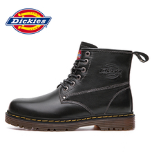 Dickies Martin boots men's new leather autumn breathable high-top British style black casual tooling boots tide