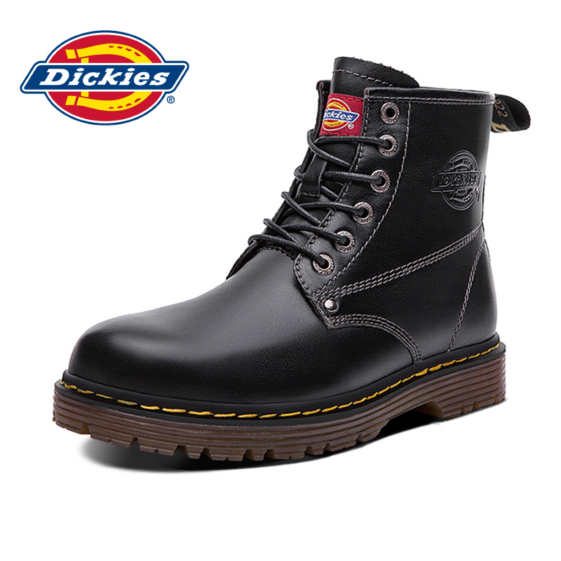 Dickies Martin boots men's new leather autumn and winter plus velvet men's high-top shoes British style tooling boots tide