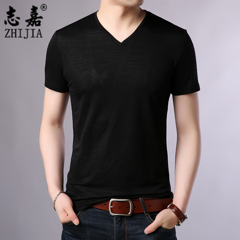 New style casual fashion solid color V-neck short sleeve top for mens summer wear fashionable Korean T-shirt