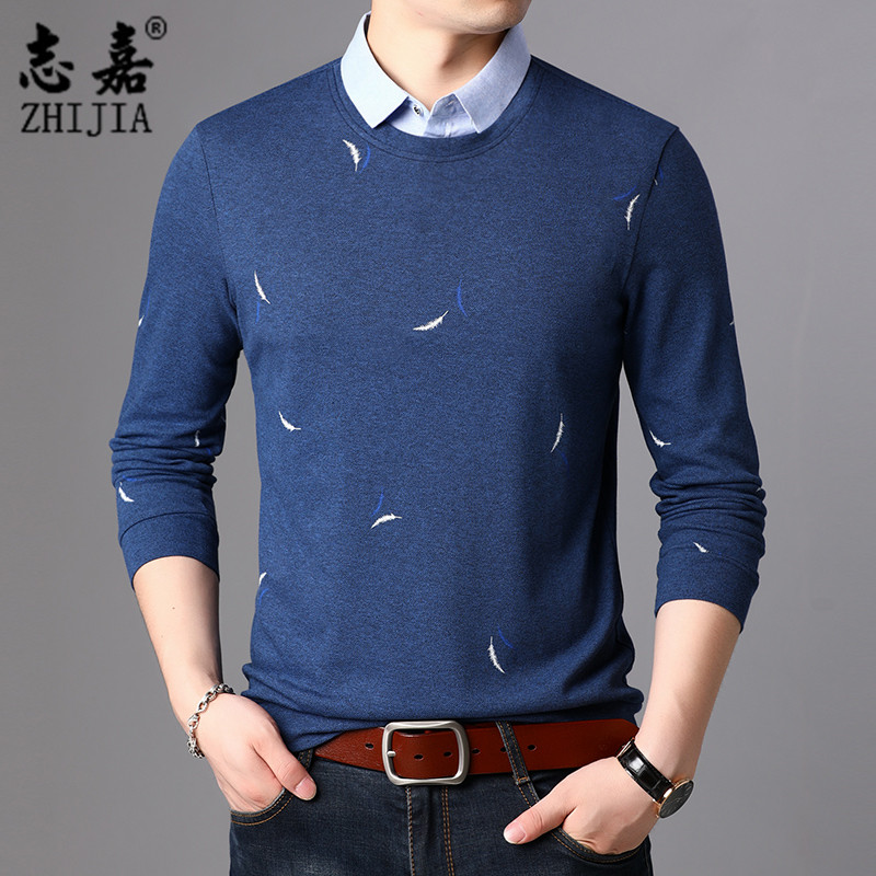 Zhijia autumn mens fashion embroidery Lapel top fake two 2020 autumn new long sleeve bottomed t-shirts