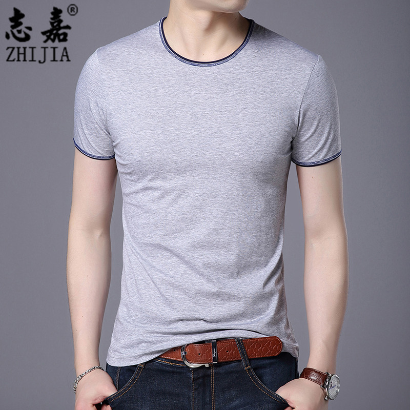 Zhijia summer new product casual fashion solid color round neck short sleeve with mens t-shirt mens trend Korean Pullover