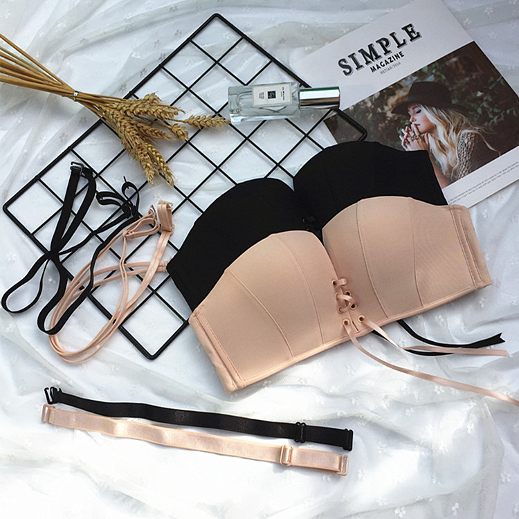Drawstring strap Strapless underwear womens small breasts gathered with one word collar off shoulder invisible brassiere with Strapless