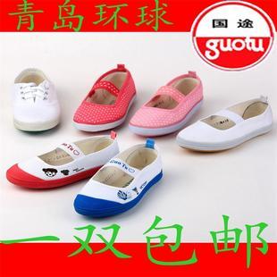 环球男大小童白网球鞋幼儿园体操鞋儿童布鞋室内帆布鞋女童舞蹈鞋