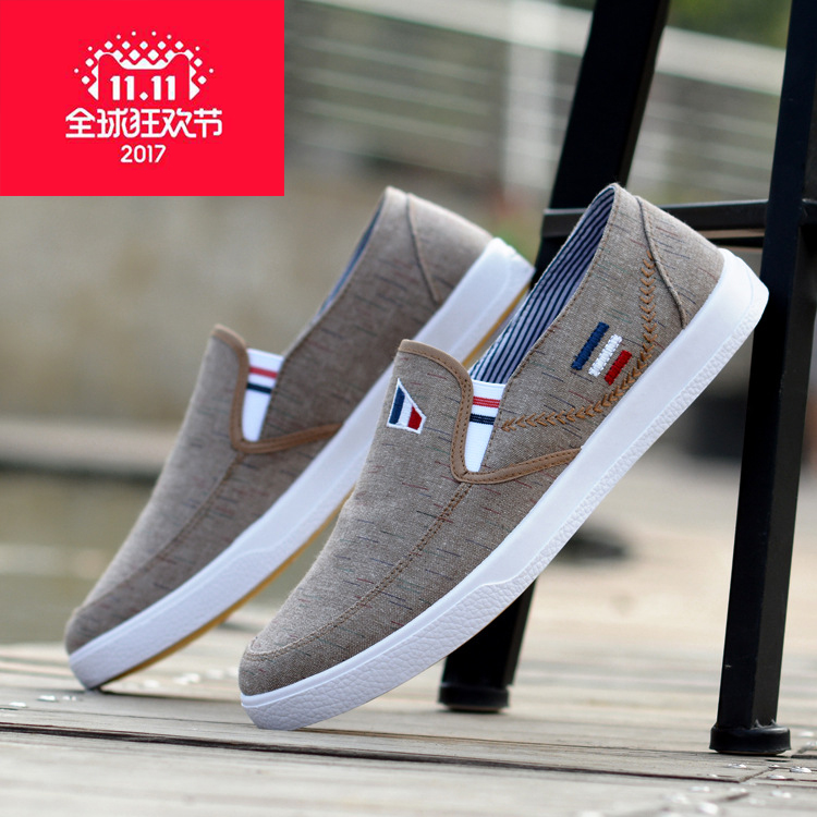 2017 spring breathable mens old Beijing canvas shoes mens Korean shoes casual shoes driving lazy shoes fashionable cloth shoes