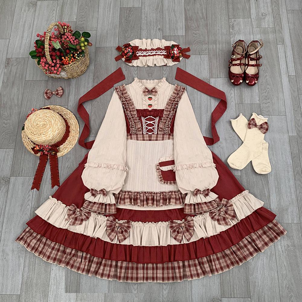 Original Japanese soft girl Lolita Lolita berry girl Lolita long sleeve dress op