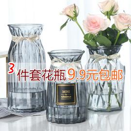 【三件套】玻璃花瓶彩色透明水培富贵竹百合鲜花花瓶客厅插花摆件图片