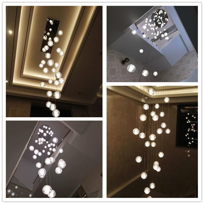 楼梯吊灯复式楼别墅LOFT北欧创意旋转现代简约水晶球楼梯灯长吊灯