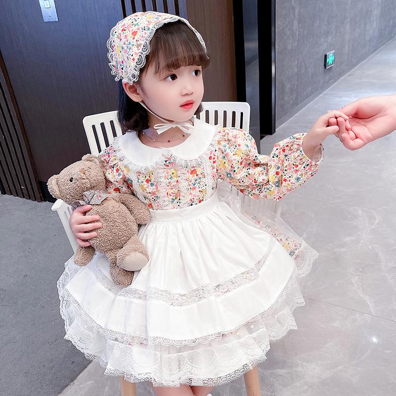 ロリータの女の子のワンピースの初誕生日の女の子のドレスの夏の赤ちゃんの花のスカートの2021王女のスカートの春の秋