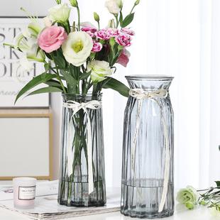 特大号两件套 玻璃花瓶透明水养百合花富贵竹花瓶客厅插花摆件