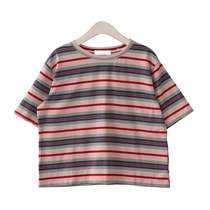 White small silent ~ 2019 spring and summer retro color stripe round neck loose-sleeved T-shirt bottoming shirt college wind shirt