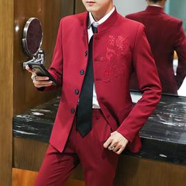 中山装男青年修身立领结婚礼服西服韩版潮套装小西装中国风唐装男