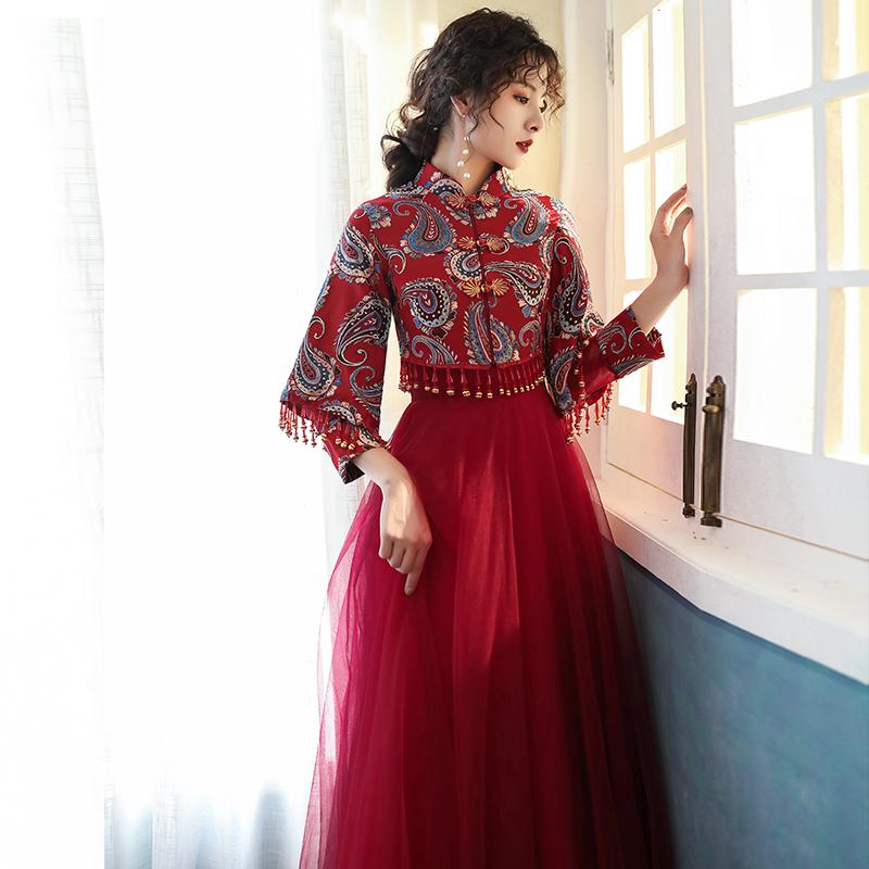 新娘2020新款秋冬季酒红色敬酒服