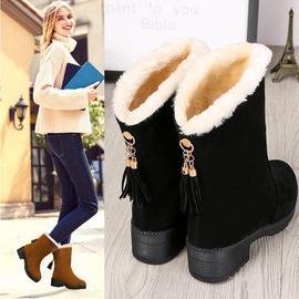 冬季雪地靴女厚底2019新款加绒加厚平底学生中筒棉鞋东北保暖鞋图片