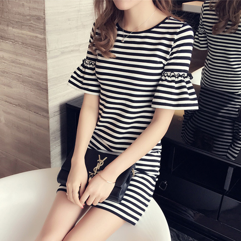 One piece bottomed waistcoat skirt womens spring and summer mid long T-shirt stripe t-blood flared sleeve short sleeve body lifting dress