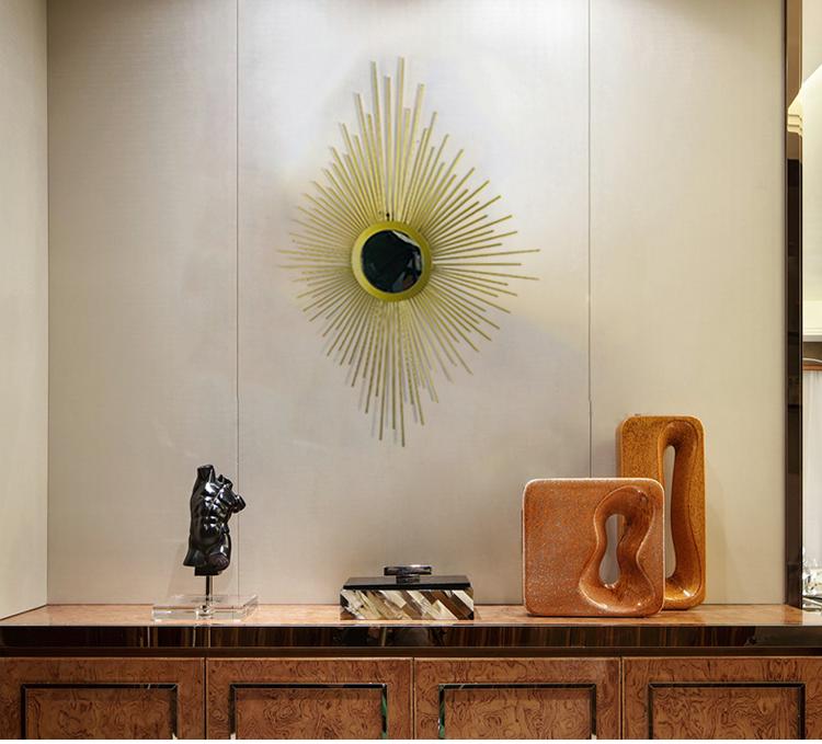 客厅创意太阳镜子壁挂壁饰中式轻奢玄关卧室铁艺挂件样板房装饰品