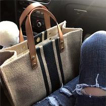 新简约方形帆布大包包单肩2018职业商务通勤OL韩版女士手提公文包