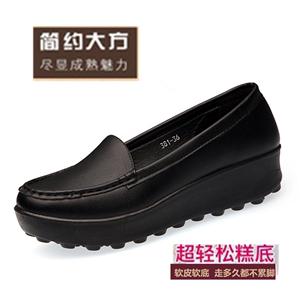 春夏平底女鞋单鞋厚底坡跟舒适工作黑色上班休闲皮鞋防滑防水工鞋