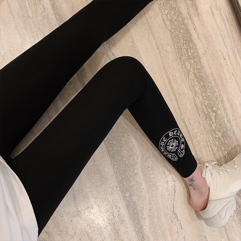 Hong Kong street fashion brand black leggings women wear horseshoe leggings spring and autumn thin section was thin all-match leggings women