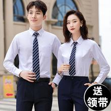 衬衣LOGO 纯白色长袖 套装 商务正装 夏秋季 男女同款 工作服职业蓝衬衫