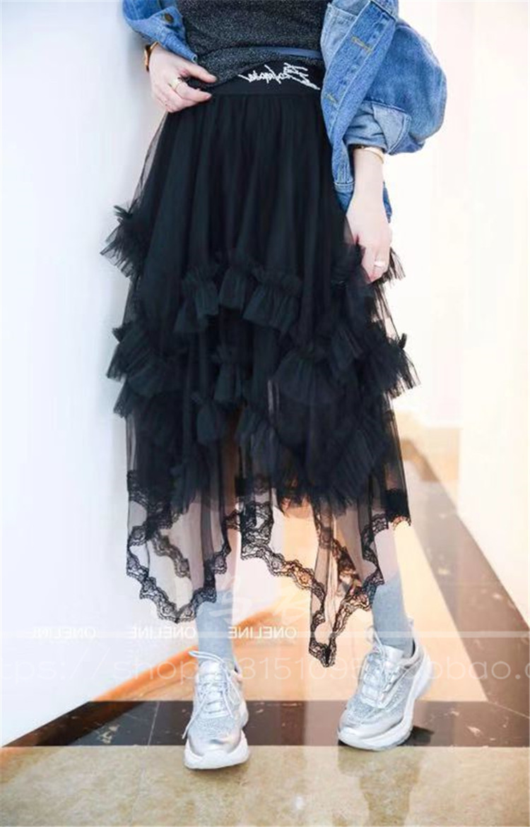 Europe station 2019 spring womens gauze skirt with beads and layers of mesh medium long A-shaped fairy pleated skirt