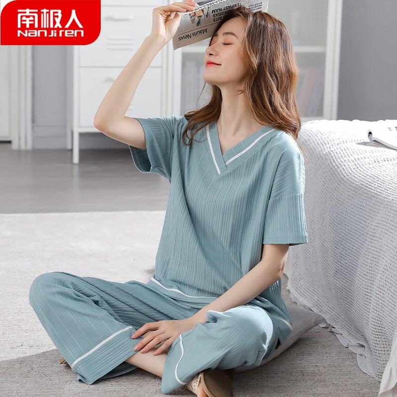 夏天2021新款纯棉质短袖长裤睡衣