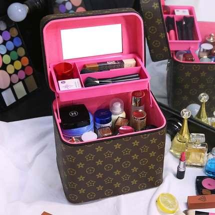 化妆包大容量便携简约韩国专业手提化妆箱双层洗漱品袋收纳盒男女