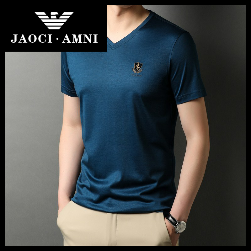 Qiaozhi Armani Co., Ltd. is a real luxury brand, ice smooth cotton T-shirt, mens short sleeve, V-neck, new summer high end