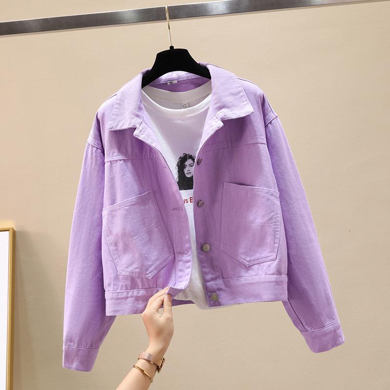 2021春秋新款糖果百搭小个子紫色牛仔外套女短款粉色薄款女士上衣