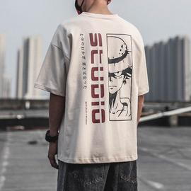 2020夏季新款日系宽松纯棉男士潮牌短袖 圆领卡通印花短袖T恤男潮