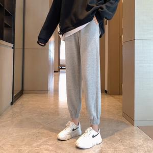 2020秋冬季加绒运动裤女裤子宽松束脚外穿灰色显瘦加厚休闲卫裤