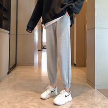 2020秋冬季加绒运动裤女裤子宽松束脚外穿灰色显瘦百搭休闲卫裤