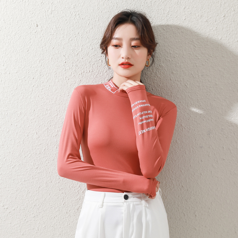 Base coat womens spring and autumn 2021 new modal half high collar with slim and slim print and versatile long sleeve T-shirt