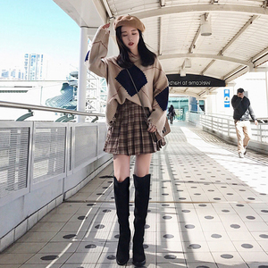 2019秋冬复古港味宽松毛衣两件套气质时尚智熏桔梗百褶裙子套装女