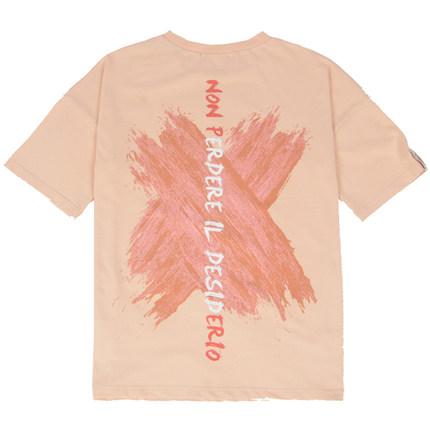 pcmy国潮橙色oversize刷漆涂鸦t恤