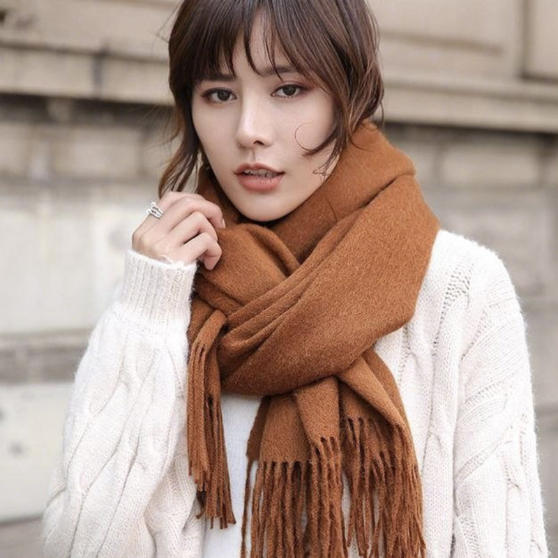 Autumn and winter womens hot pepper star the same Cashmere Wool Shawl solid color double face scarf dual purpose warm boy