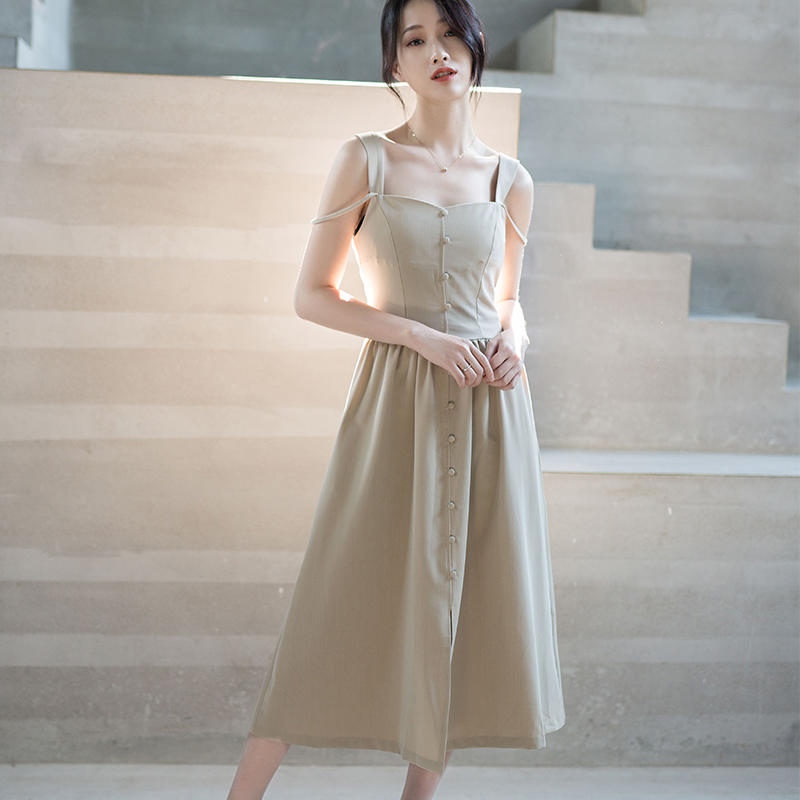 (time limited clearance) gentle wind female summer extremely simple show thin ins super fire dress temperament suspender long skirt