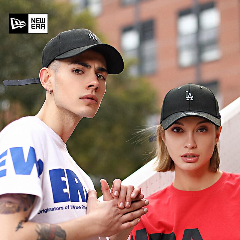 New Era 潮酷MLB炫彩金属NY/LA弯檐皮质调节带嘻哈街舞棒球帽男女